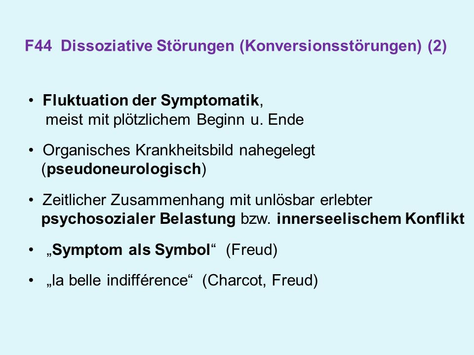 F44 Dissoziative Störungen (Konversionsstörungen) (2)