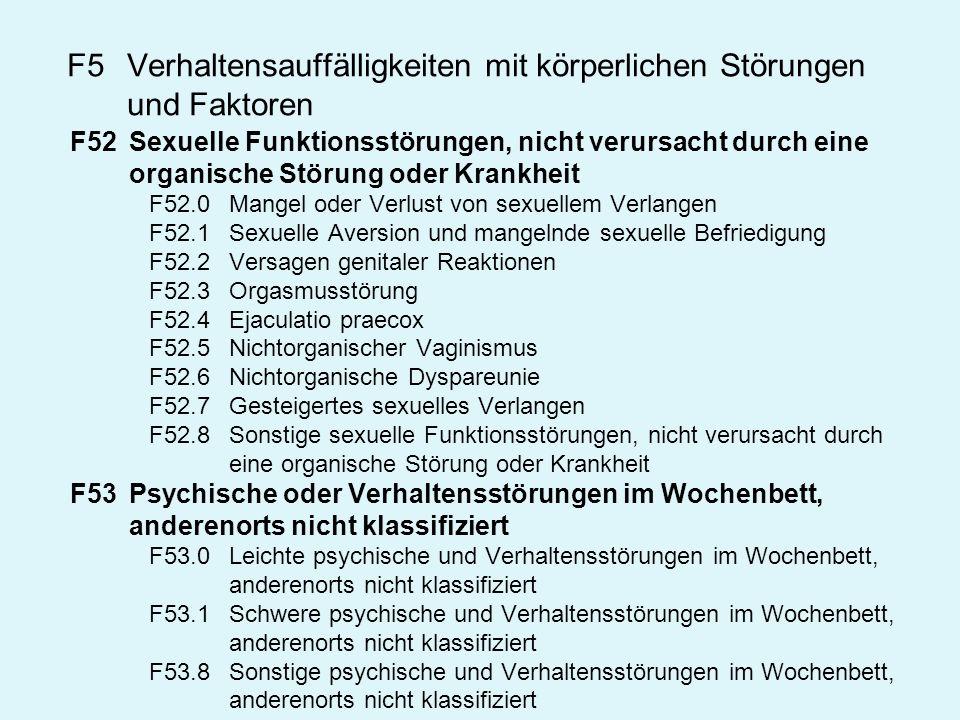 F5 Verhaltensauffälligkeiten mit körperlichen Störungen und Faktoren