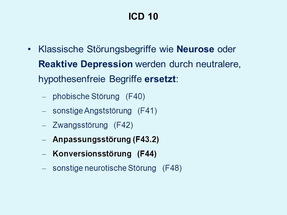 ICD 10 Klassische Störungsbegriffe wie Neurose oder Reaktive Depression werden durch neutralere, hypothesenfreie Begriffe ersetzt: