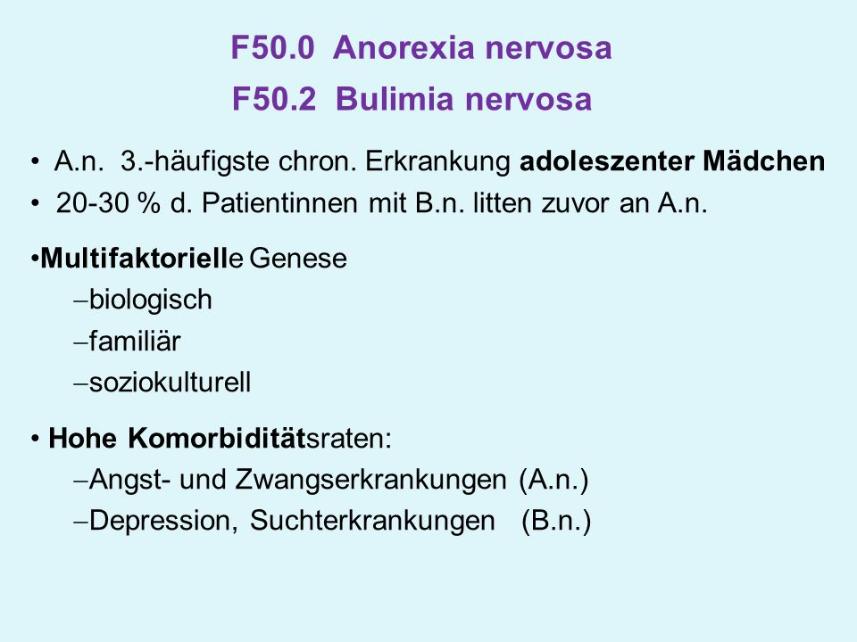 F50.0 Anorexia nervosa F50.2 Bulimia nervosa