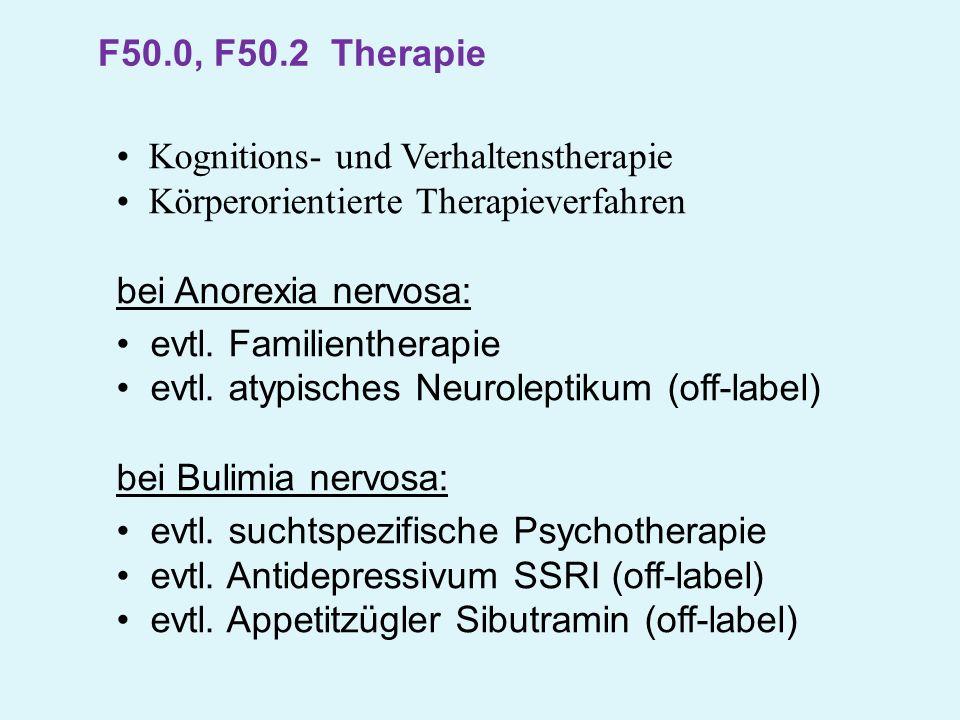 F50.0, F50.2 Therapie Kognitions- und Verhaltenstherapie. Körperorientierte Therapieverfahren. bei Anorexia nervosa:
