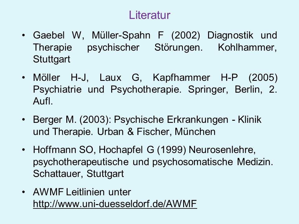 Literatur Gaebel W, Müller-Spahn F (2002) Diagnostik und Therapie psychischer Störungen. Kohlhammer, Stuttgart.