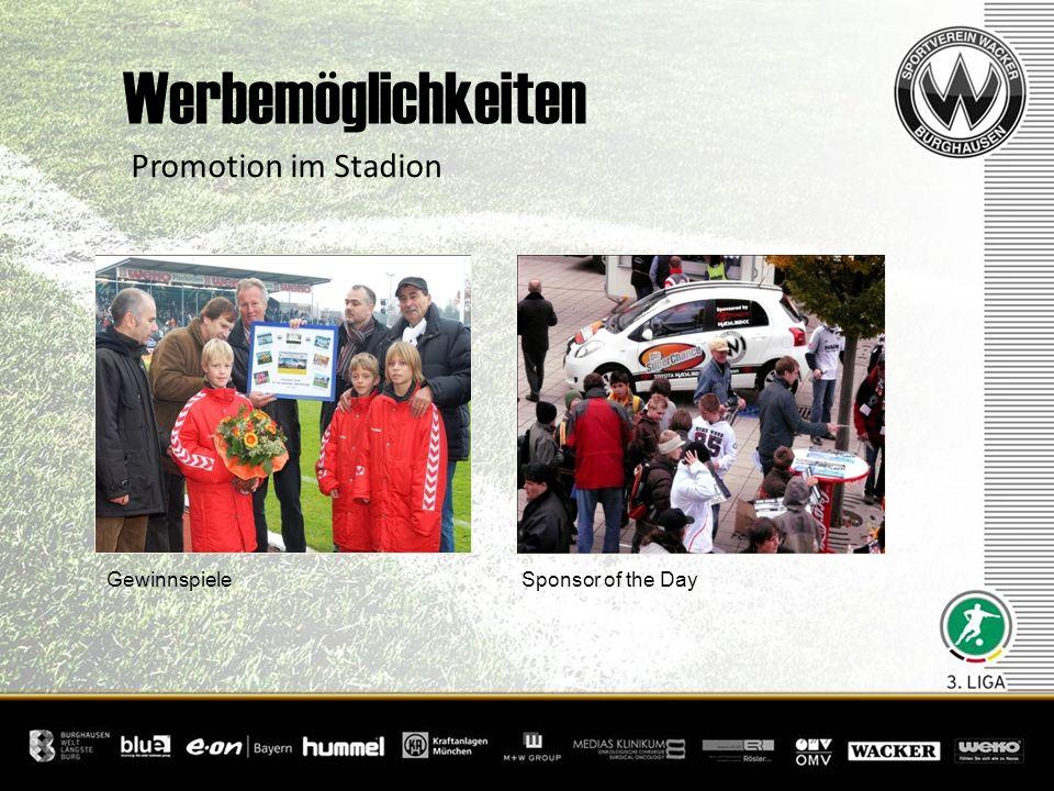 Werbemöglichkeiten Promotion im Stadion Gewinnspiele