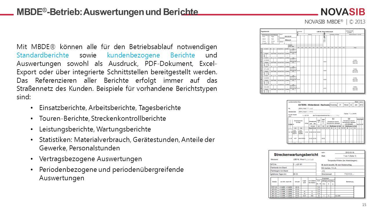 MBDE®-Betrieb: Auswertungen und Berichte
