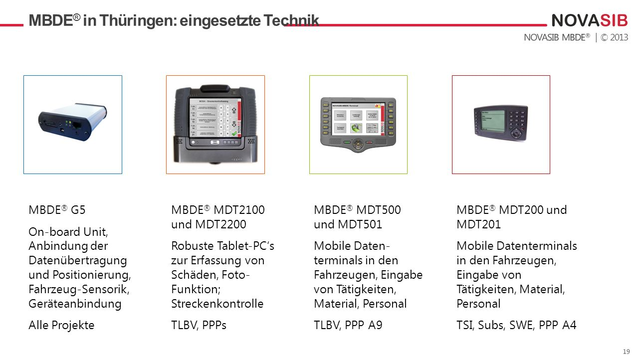 MBDE® in Thüringen: eingesetzte Technik