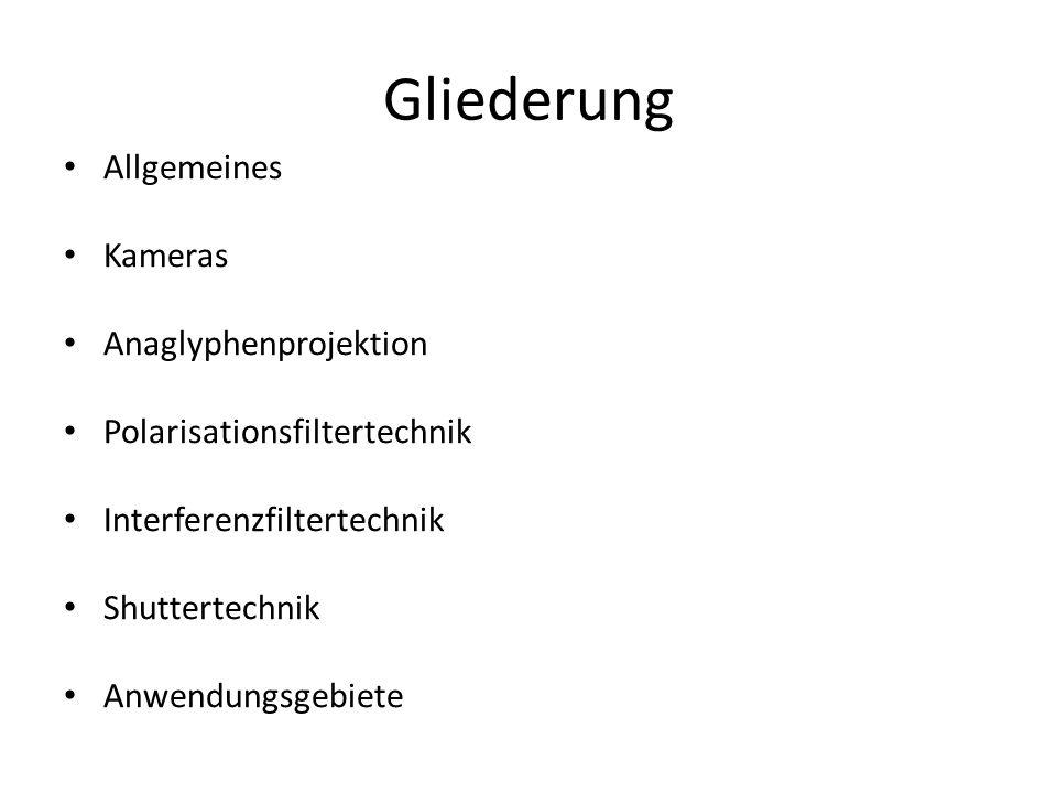 Gliederung Allgemeines Kameras Anaglyphenprojektion