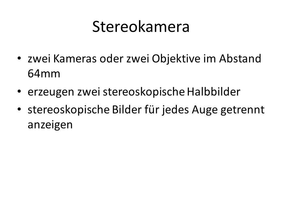 Stereokamera zwei Kameras oder zwei Objektive im Abstand 64mm