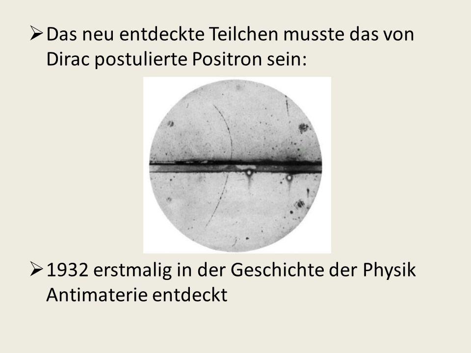 Das neu entdeckte Teilchen musste das von Dirac postulierte Positron sein: