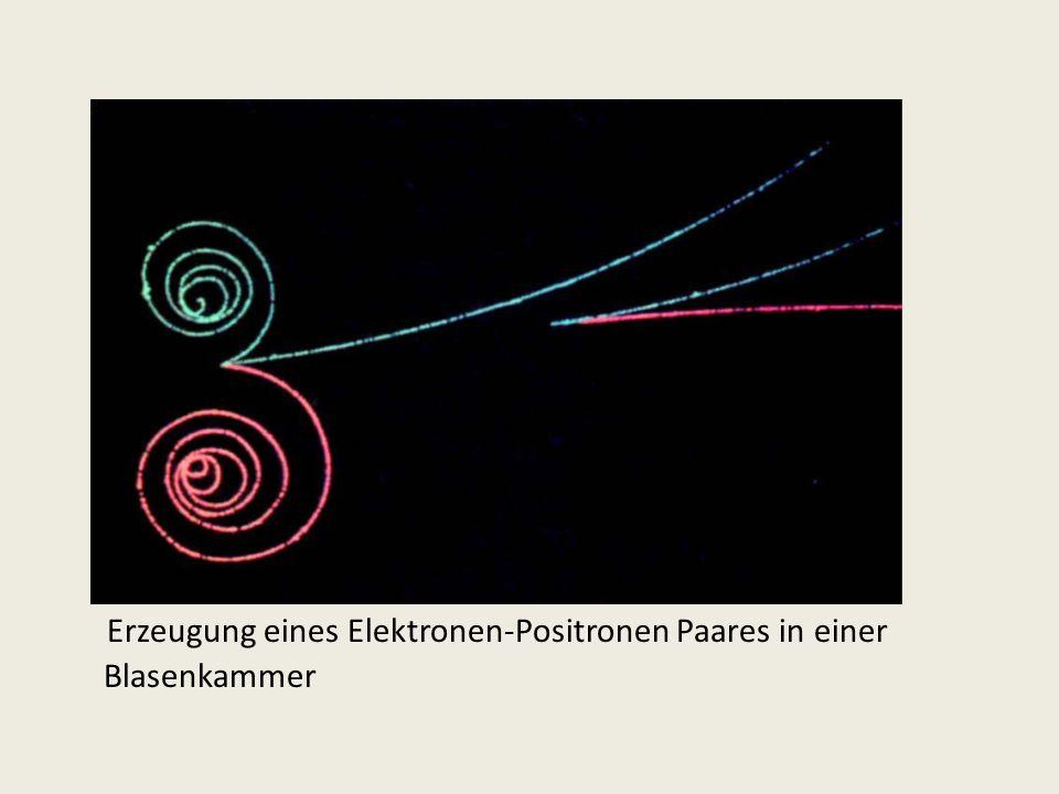Erzeugung eines Elektronen-Positronen Paares in einer Blasenkammer