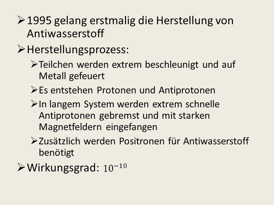 1995 gelang erstmalig die Herstellung von Antiwasserstoff