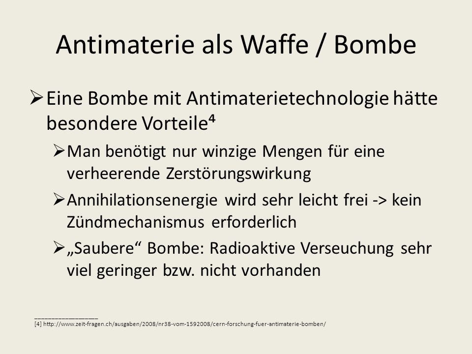 Antimaterie als Waffe / Bombe