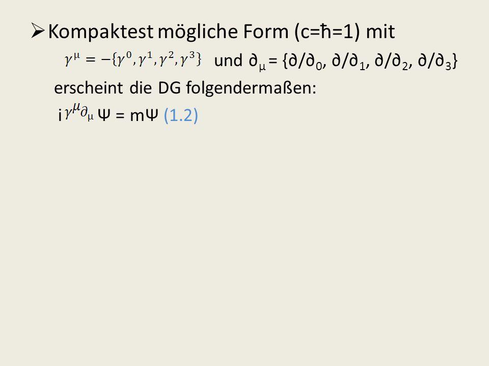 Kompaktest mögliche Form (c=ħ=1) mit