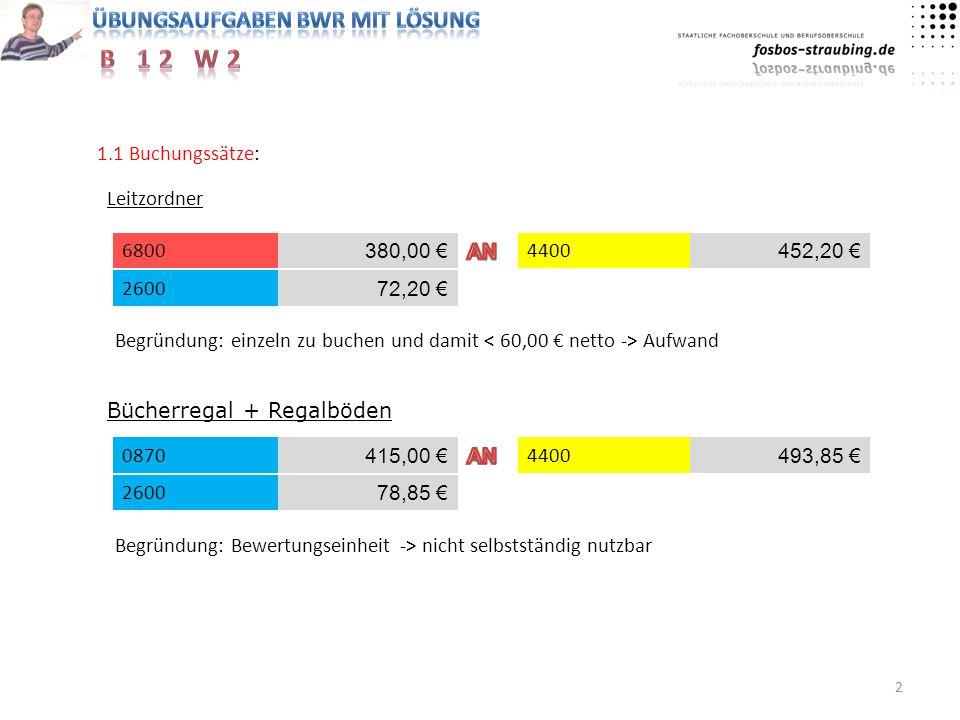 1.1 Buchungssätze: Leitzordner. 6800. 380,00 € AN. 4400. 452,20 € 2600. 72,20 €