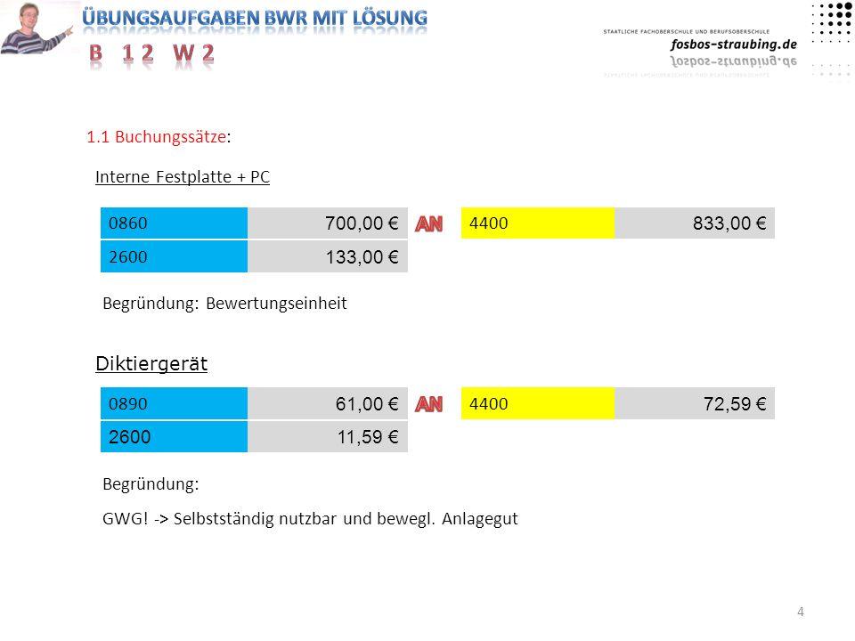 1.1 Buchungssätze: Interne Festplatte + PC. 0860. 700,00 € AN. 4400. 833,00 € 2600. 133,00 €