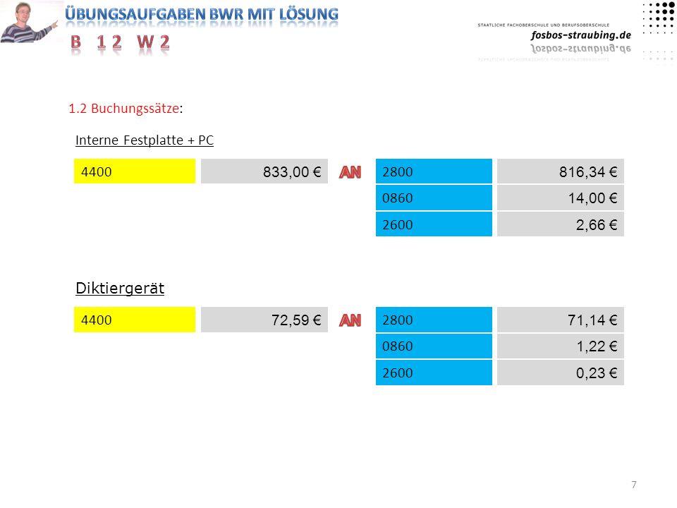 1.2 Buchungssätze: Interne Festplatte + PC. 4400. 833,00 € AN. 2800. 816,34 € 0860. 14,00 € 2600.