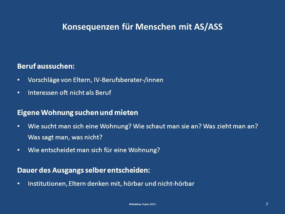 Konsequenzen für Menschen mit AS/ASS