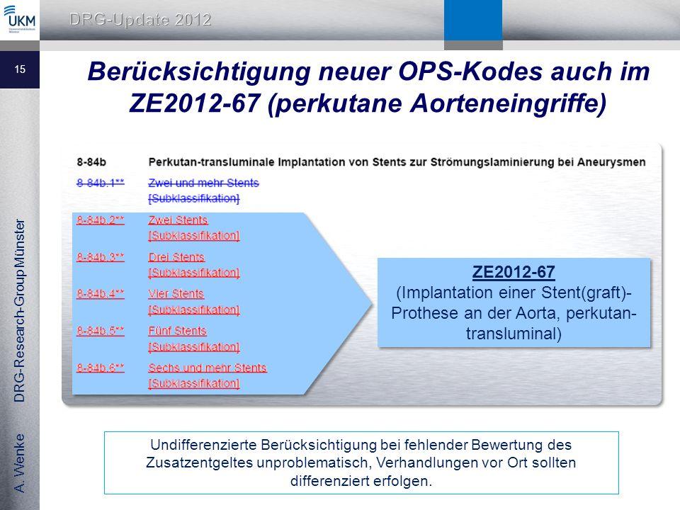 Berücksichtigung neuer OPS-Kodes auch im ZE2012-67 (perkutane Aorteneingriffe)