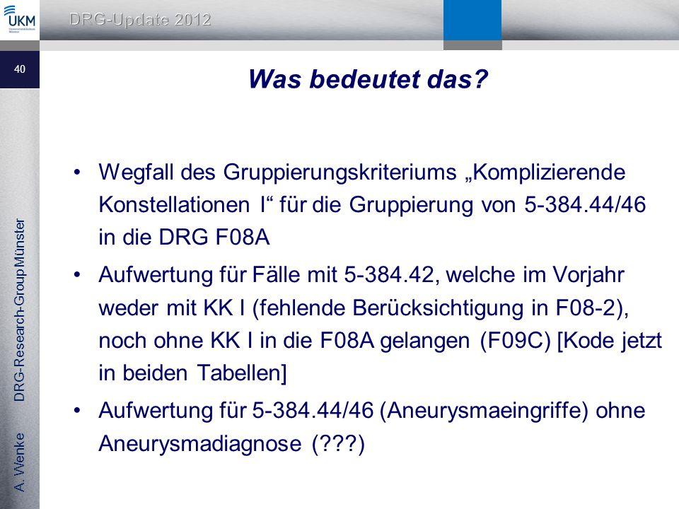 """Was bedeutet das Wegfall des Gruppierungskriteriums """"Komplizierende Konstellationen I für die Gruppierung von 5-384.44/46 in die DRG F08A."""