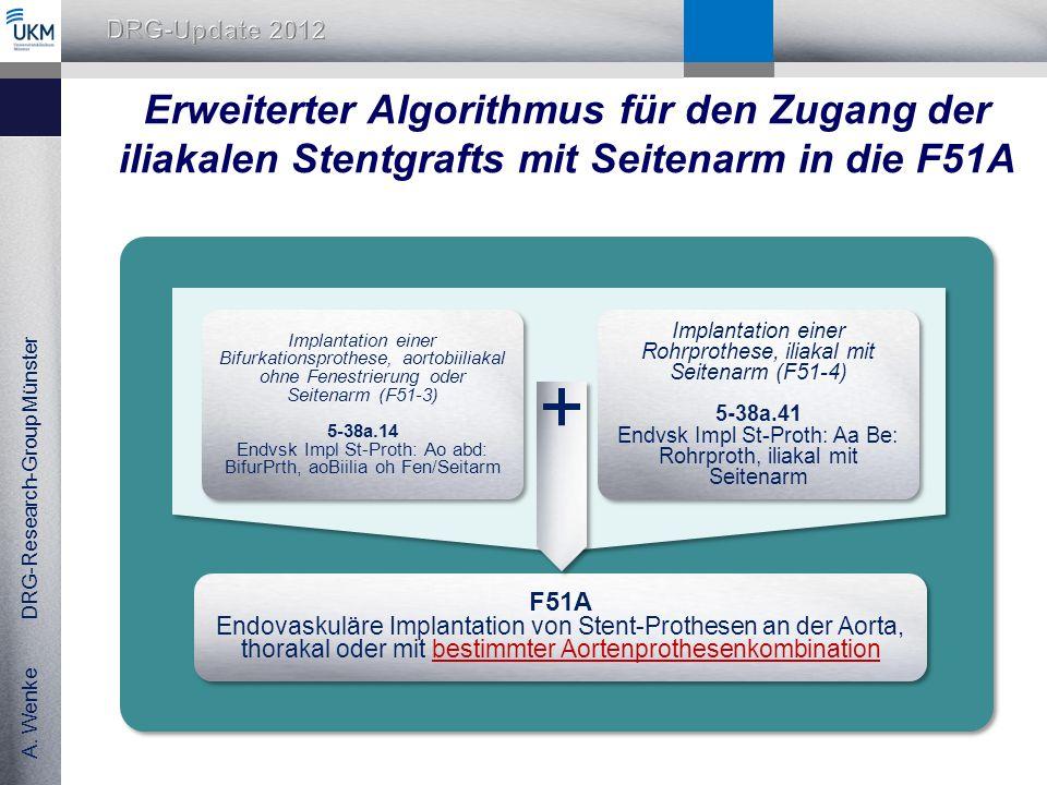 Erweiterter Algorithmus für den Zugang der iliakalen Stentgrafts mit Seitenarm in die F51A