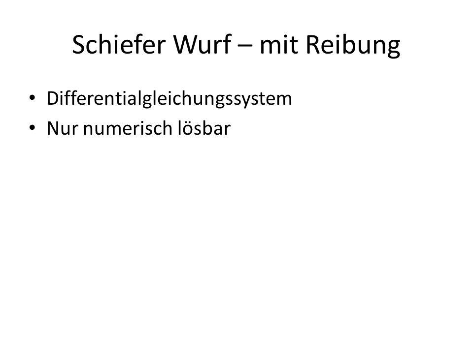 Schiefer Wurf – mit Reibung