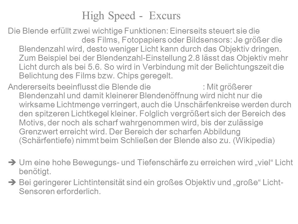 High Speed - Excurs Blende