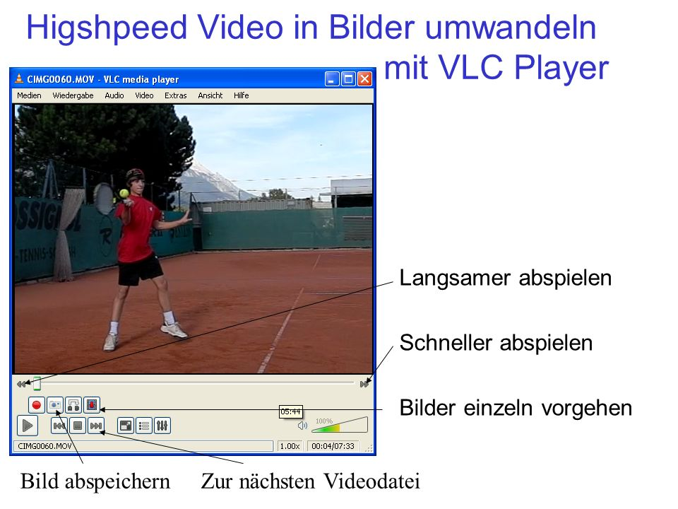 Higshpeed Video in Bilder umwandeln mit VLC Player