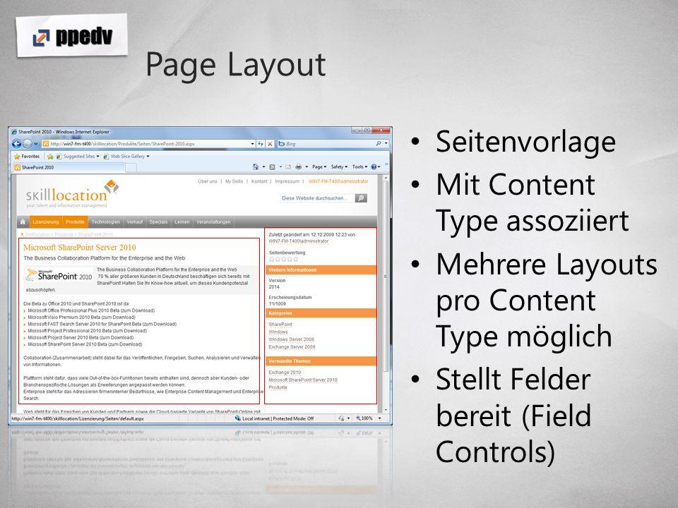 Page Layout Seitenvorlage Mit Content Type assoziiert