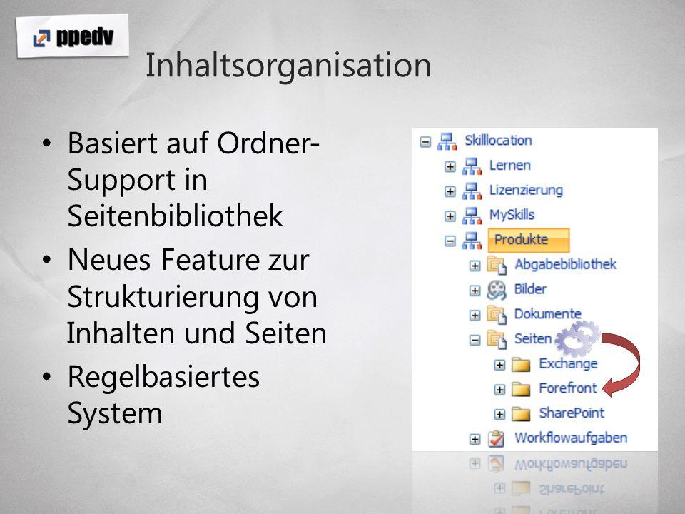 Inhaltsorganisation Basiert auf Ordner-Support in Seitenbibliothek