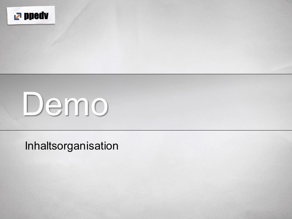 Demo Inhaltsorganisation