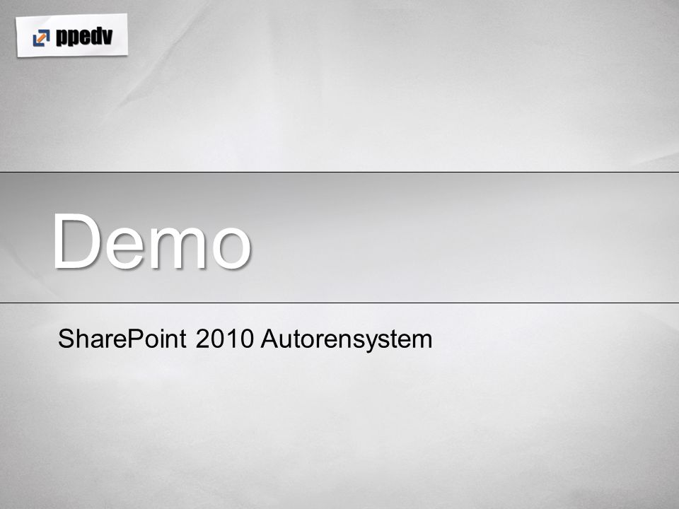 Demo SharePoint 2010 Autorensystem