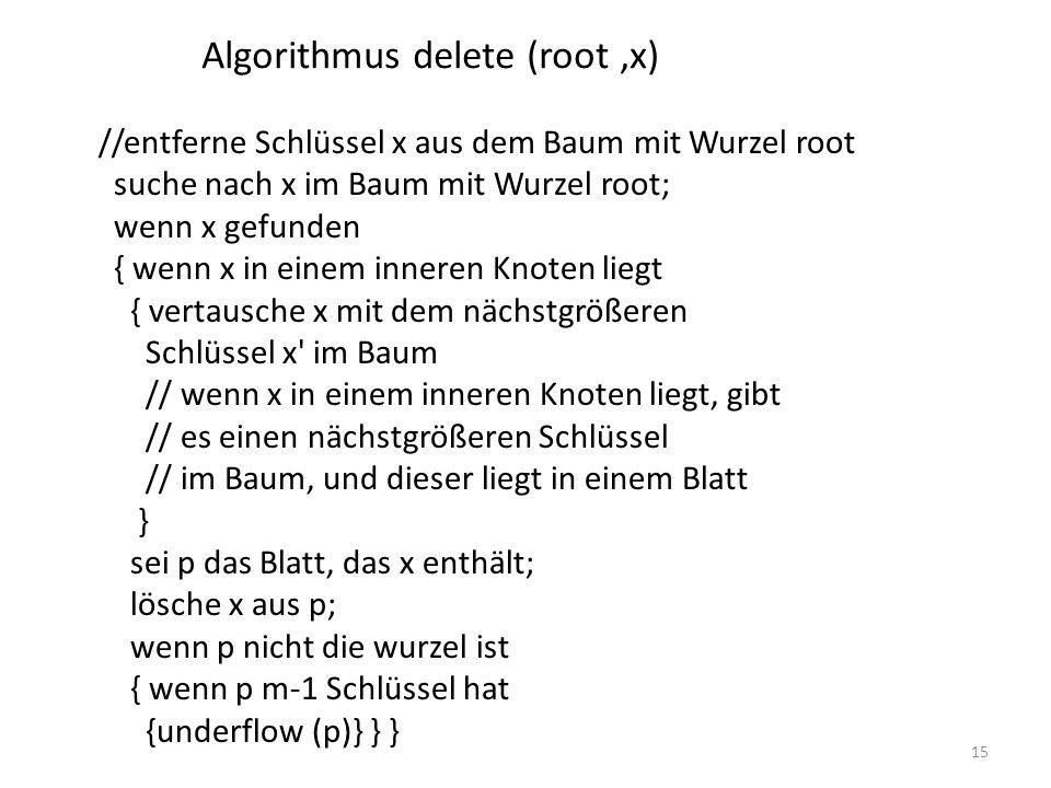 Algorithmus delete (root ,x)