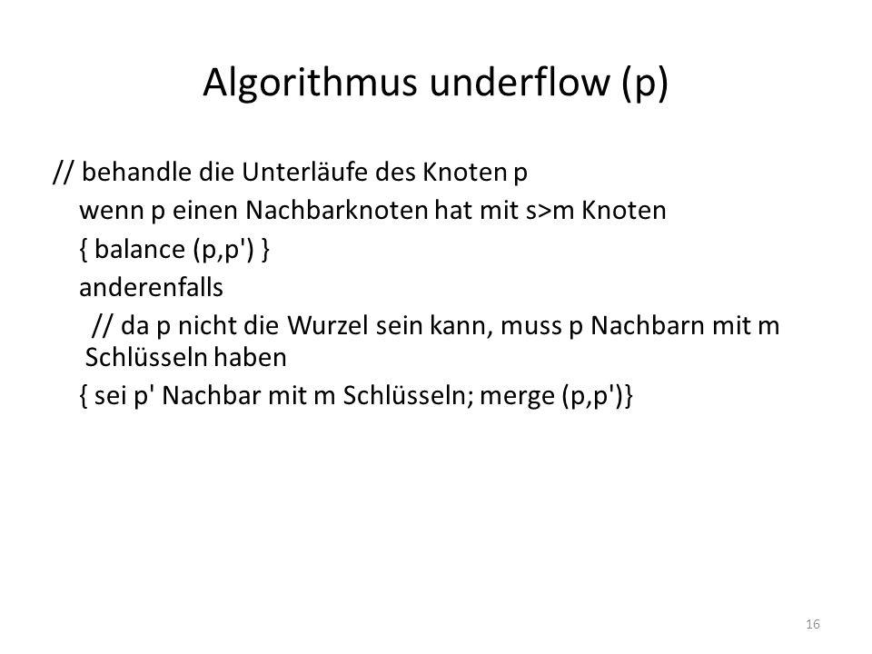 Algorithmus underflow (p)