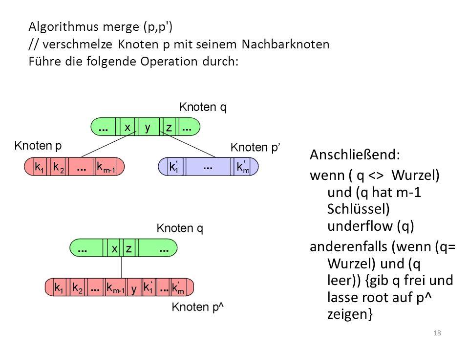 wenn ( q <> Wurzel) und (q hat m-1 Schlüssel) underflow (q)