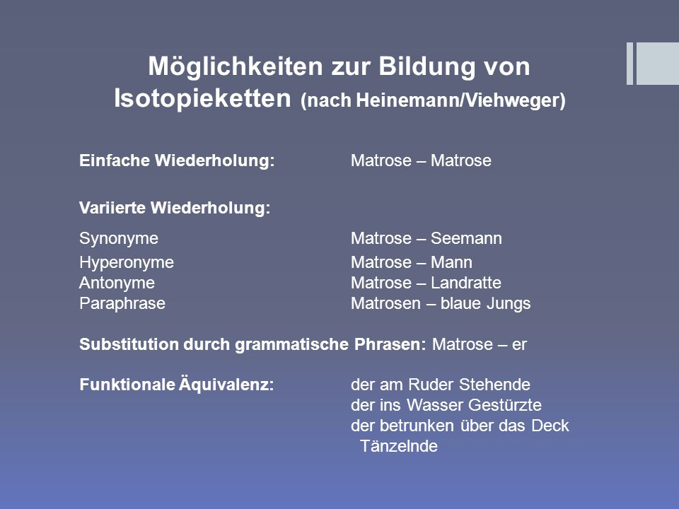Möglichkeiten zur Bildung von Isotopieketten (nach Heinemann/Viehweger)