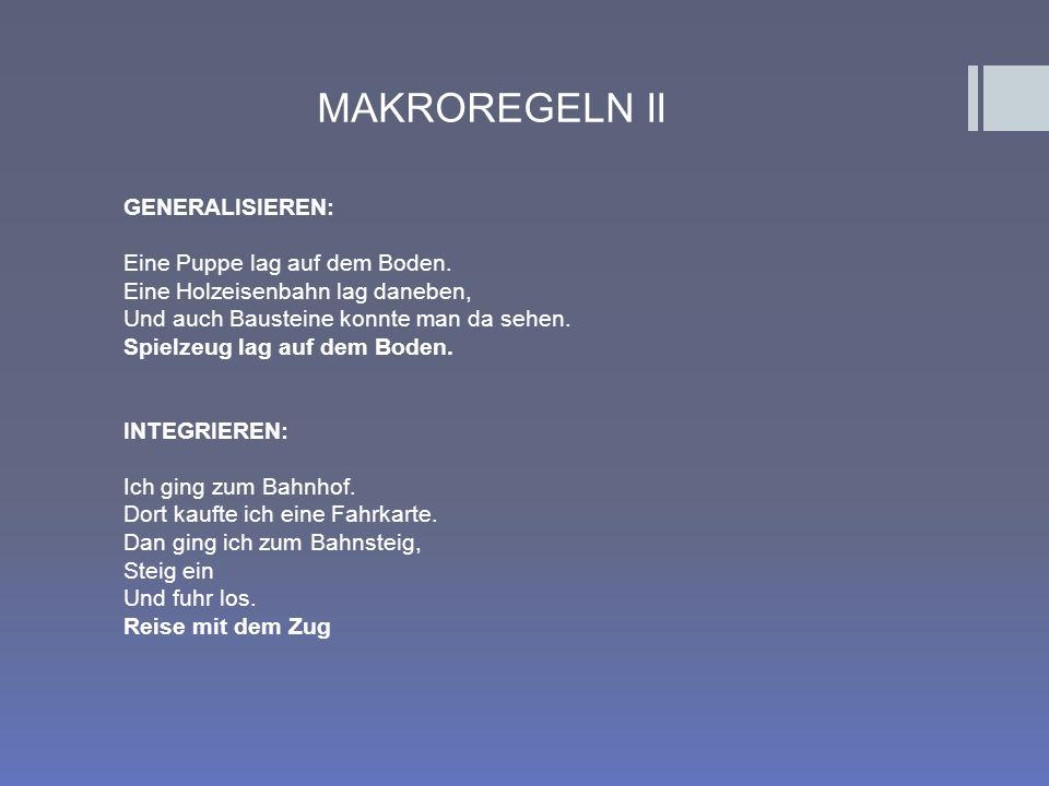 MAKROREGELN II GENERALISIEREN: Eine Puppe lag auf dem Boden.