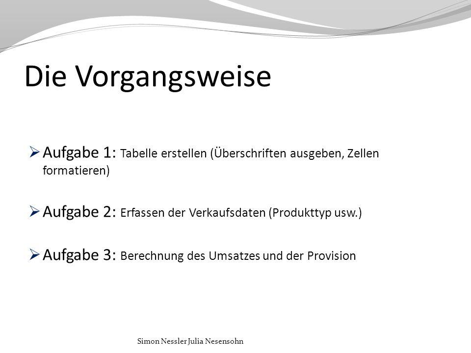 Die Vorgangsweise Aufgabe 1: Tabelle erstellen (Überschriften ausgeben, Zellen formatieren) Aufgabe 2: Erfassen der Verkaufsdaten (Produkttyp usw.)