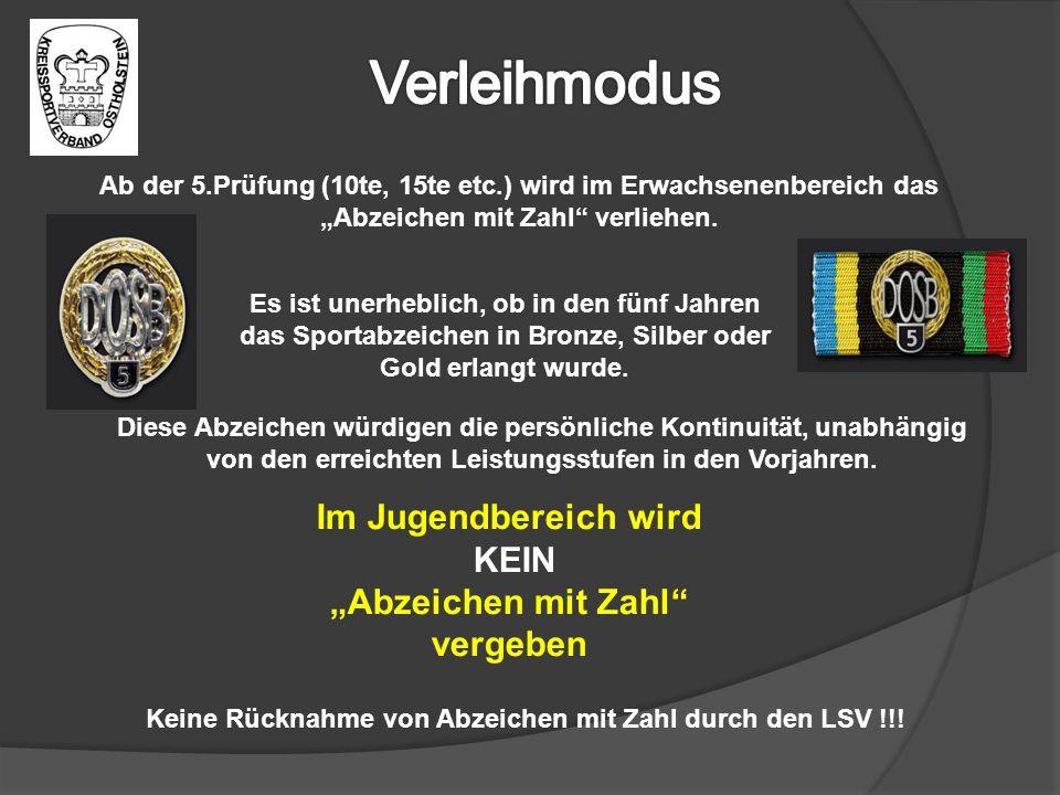 """Verleihmodus Im Jugendbereich wird KEIN """"Abzeichen mit Zahl vergeben"""