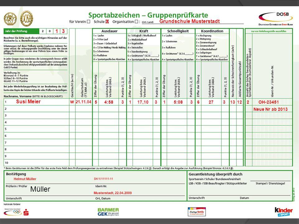 Müller X Grundschule Musterstadt 1 3 Susi Meier w 21.11.04 5 4:58 3 1