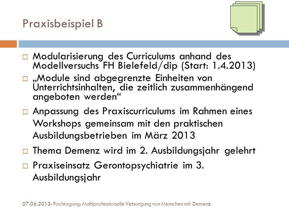 Praxisbeispiel B Modularisierung des Curriculums anhand des Modellversuchs FH Bielefeld/dip (Start: 1.4.2013)