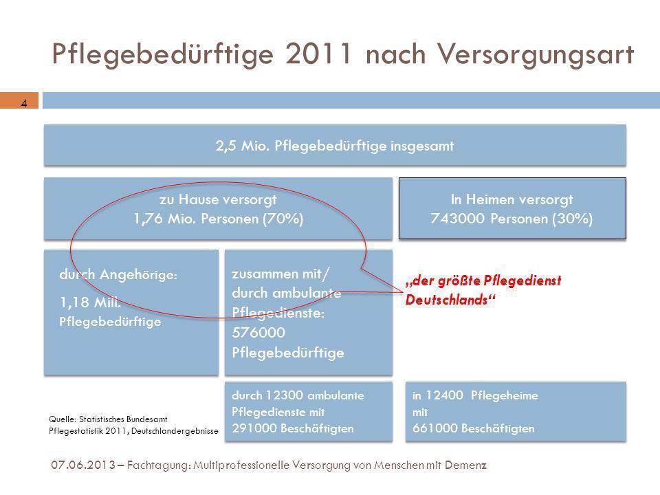 Pflegebedürftige 2011 nach Versorgungsart