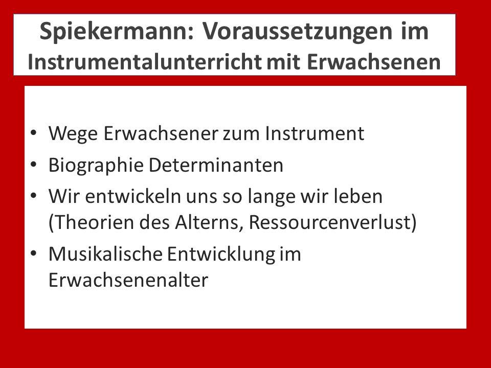 Spiekermann: Voraussetzungen im Instrumentalunterricht mit Erwachsenen