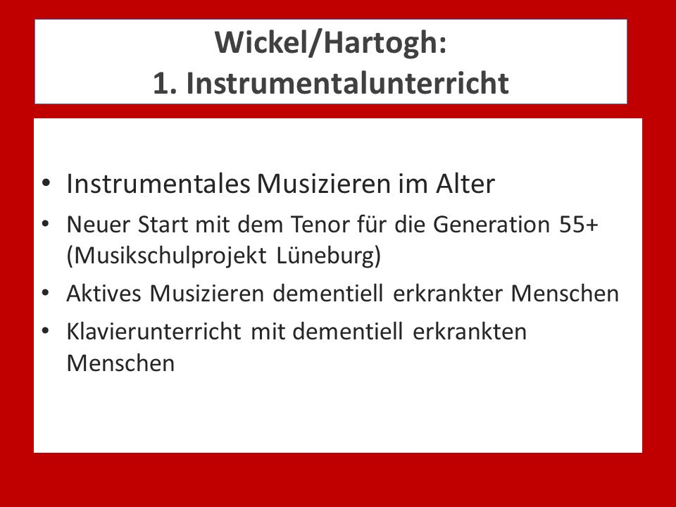Wickel/Hartogh: 1. Instrumentalunterricht