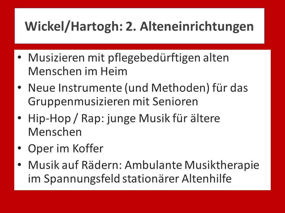 Wickel/Hartogh: 2. Alteneinrichtungen