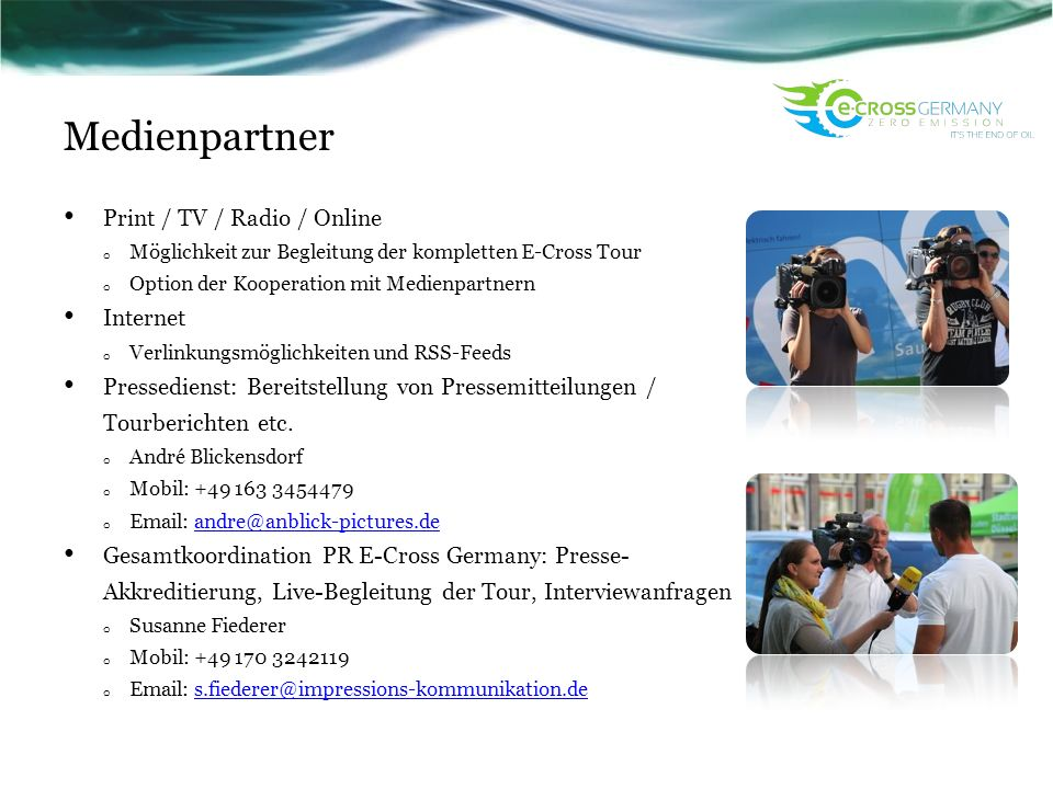 Medienpartner Print / TV / Radio / Online Internet