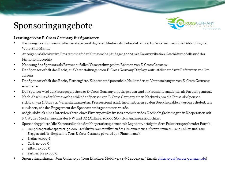 Sponsoringangebote Leistungen von E-Cross Germany für Sponsoren