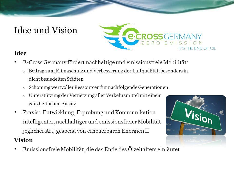 Idee und Vision Idee. E-Cross Germany fördert nachhaltige und emissionsfreie Mobilität: