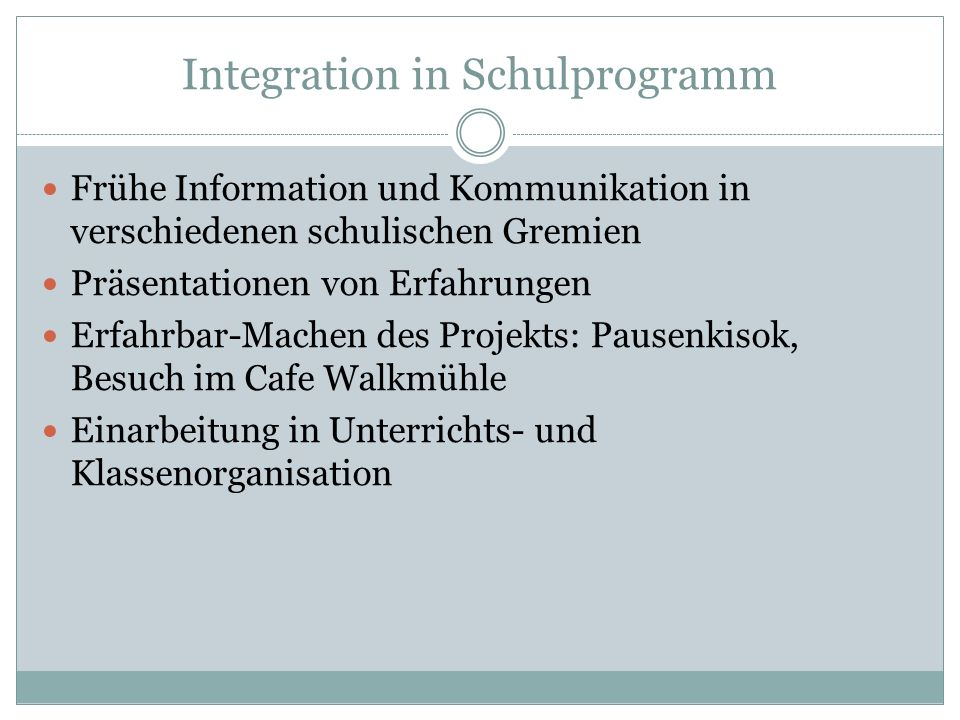 Integration in Schulprogramm