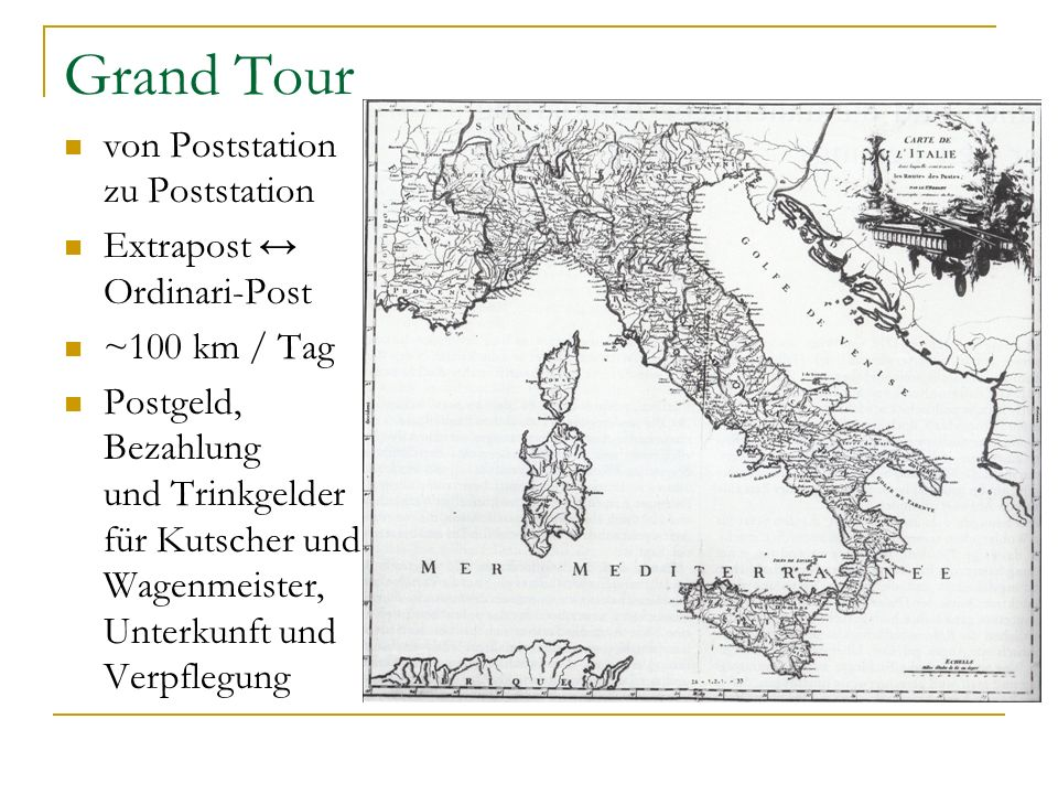 Grand Tour von Poststation zu Poststation Extrapost ↔ Ordinari-Post
