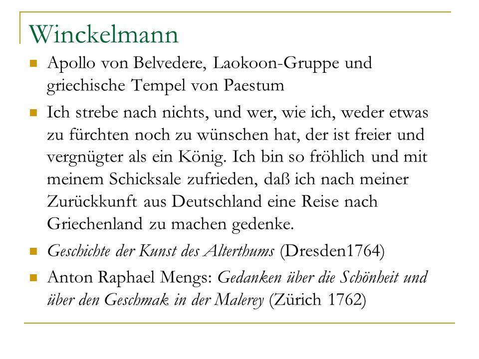 Winckelmann Apollo von Belvedere, Laokoon-Gruppe und griechische Tempel von Paestum.