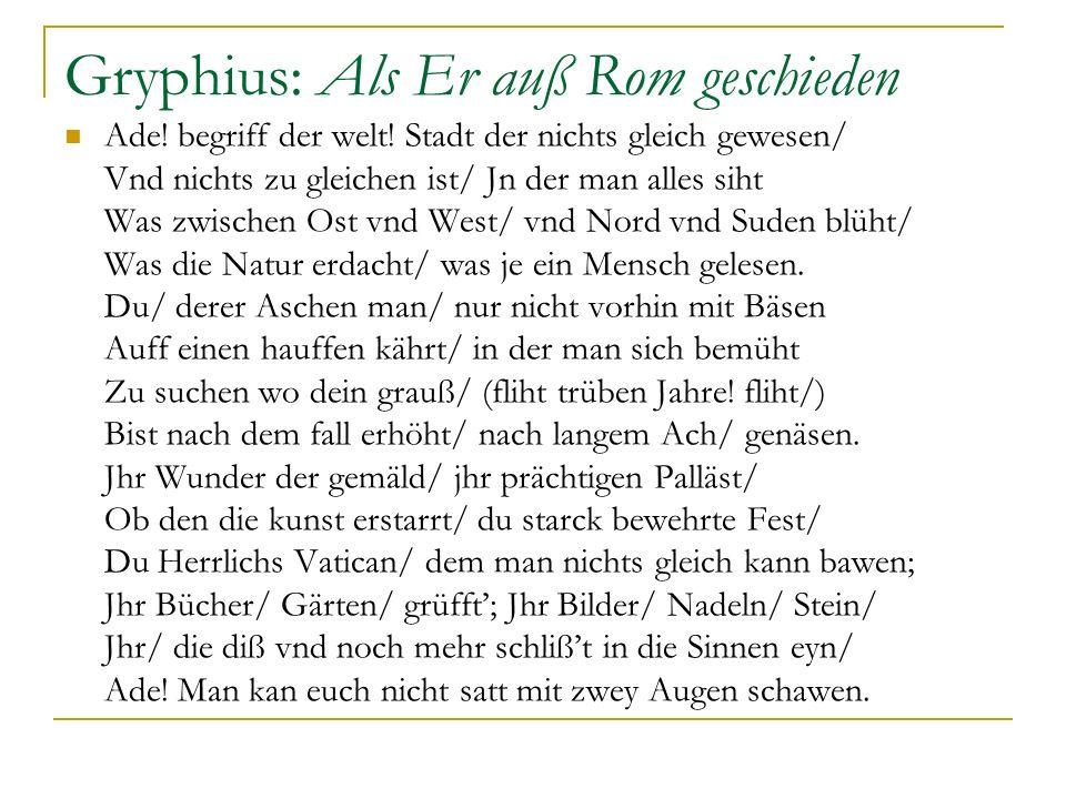 Gryphius: Als Er auß Rom geschieden